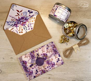 Personalised seal on purple wedding card