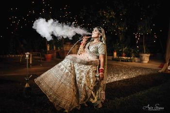 Bridal portrait ideas smoking hookah