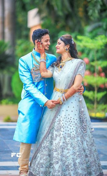 Pale blue lehenga with silver work for engagement
