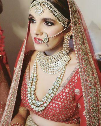 Stunning polki and jadau bridal jewellery with long raani haar