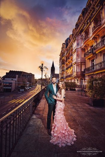 Destination pre wedding shoot abroad in ruffled gown