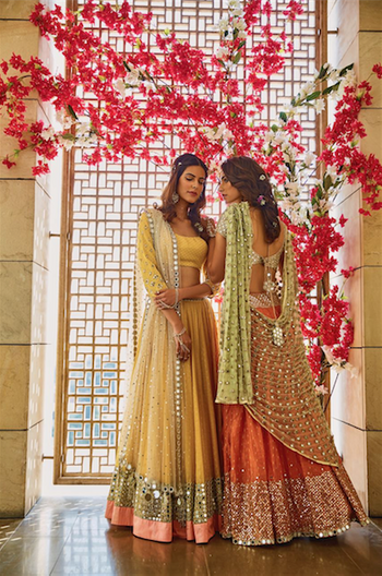 Girly pastel lehengas for Mehendi/ Sangeet