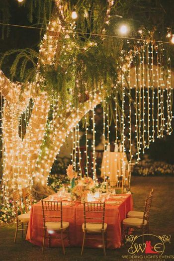 Fairy lights decor for a night event