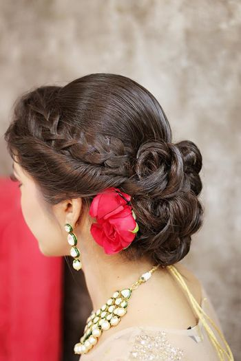 Photo of braided bun hairstyle