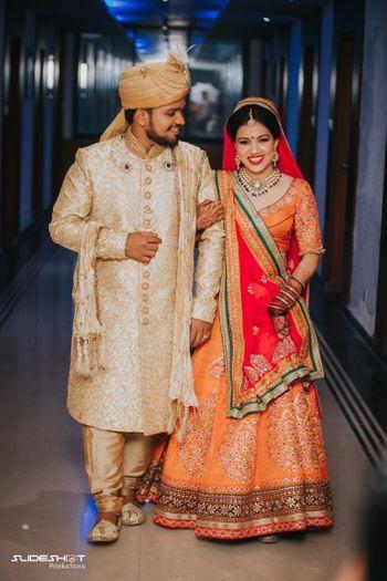 Unique orange bridal lehenga for wedding