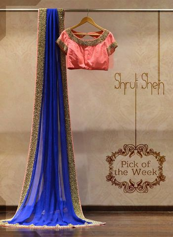 blue saree with pnk blouse