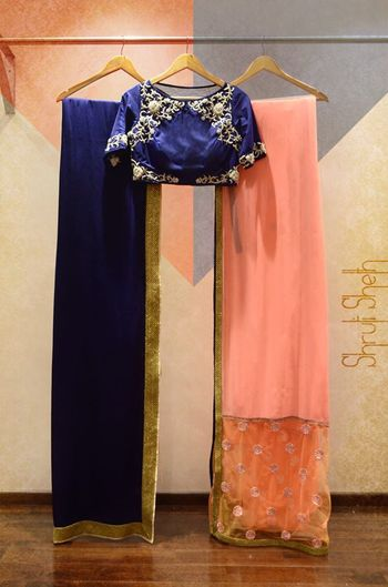Photo of dark blue and pastel pink saree