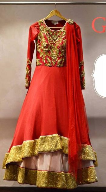 red layered anarkali lehenga