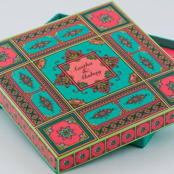 Teal and pink theme wedding invite box