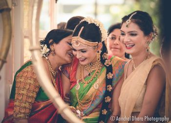 South Indian Bride with Bridesmaid candid shot