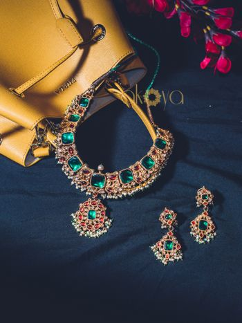 Photo of emerald and polki necklace