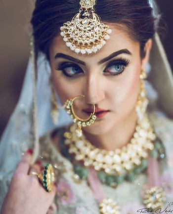 Bride with bold brows and contacts