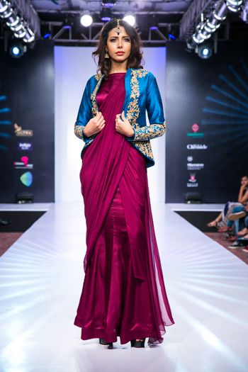 purple gown sari with jacket blouse