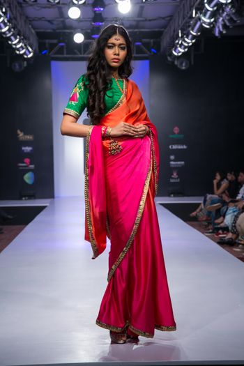 pink and orange ombre saree