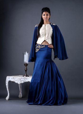 blue cape lehenga with zip top