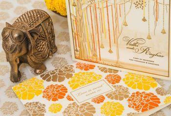 Photo of genda flower invitations