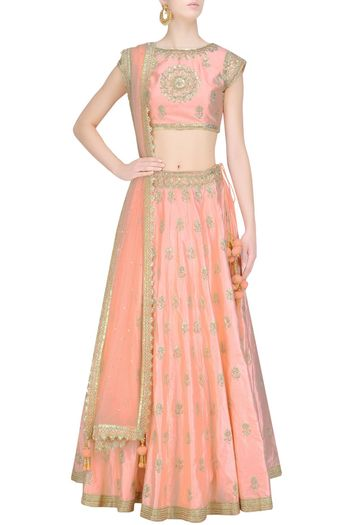 Photo of Light peach lehenga with dull gold motifs