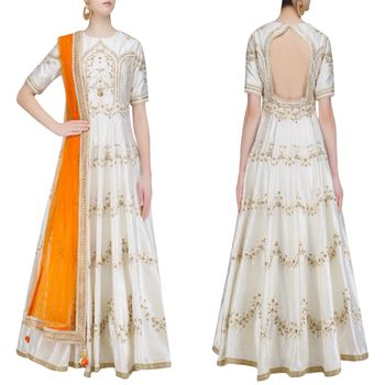 white and gold anarkali with double shaded orange color dupatta