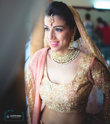 peach and gold lehenga