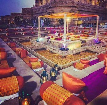 Open air mandap for a destination wedding in a palace