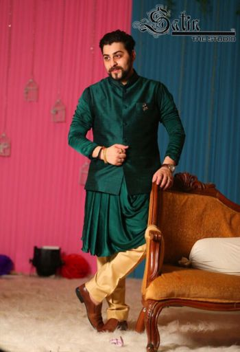 Teal sherwani with jacket for mehendi