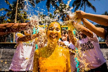 Photo of fun bridal portrait o the haldi