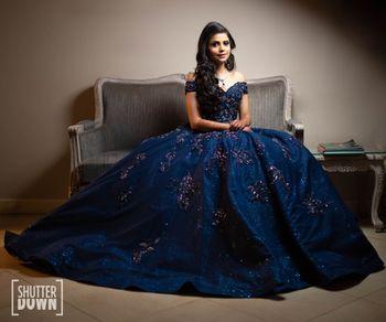 Midnight blue flared sangeet gown