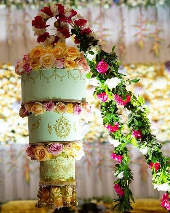 Suspended wedding cake.