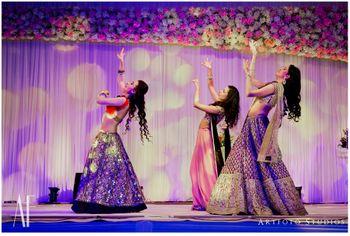 Bridesmaids Dancing Onstage During Sangeet