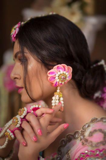 Floral jewellery mehendi earrings in pink