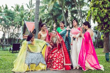 Photo of  A bride is the happiest when she is around her best friends a.k.a her bridesmaids.
