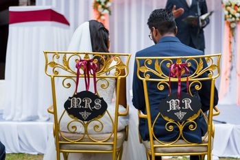 Personalised bride and groom chair idea for christian wedding