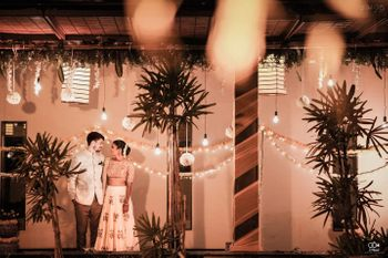 A beautiful fairy lights backdrop with the couple covered in soft lights!