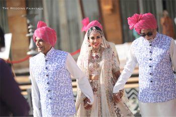 Bride entering with matching bridesmen