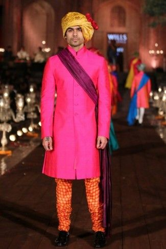 Rohit Bal hot pink and orange kurta