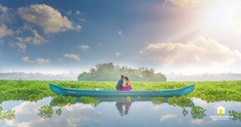 Couple on boat pre wedding shoot idea