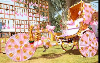 Photo of Light pink and gota covered rickshaw prop