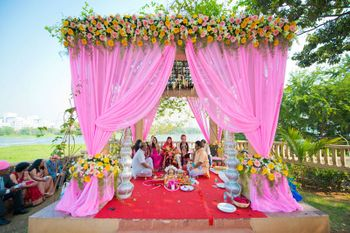baby pink mandap decor