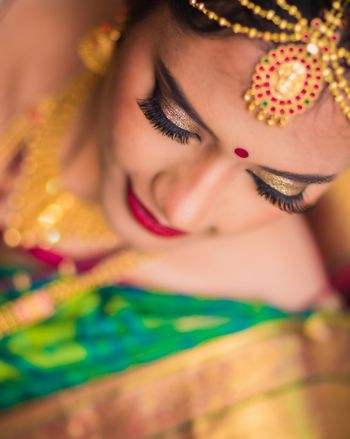South Indian bridal makeup gold eyes