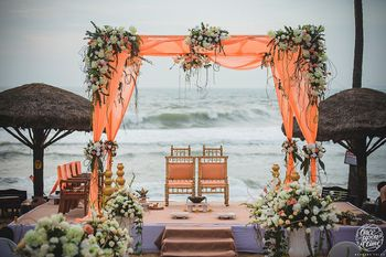 Outdoor mandap decor by the beach