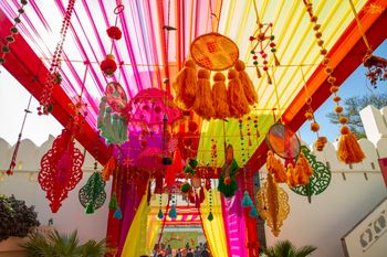 Photo of A colorful hanging decor at the entrance