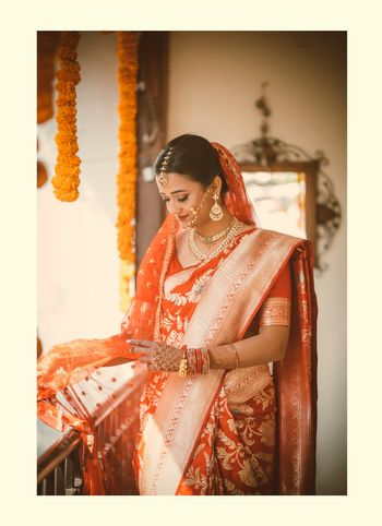 Bride in red silk saree