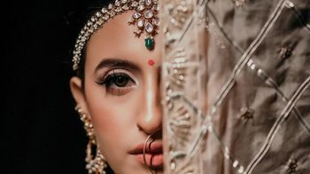 Photo of Subtle bridal makeup with nude lips