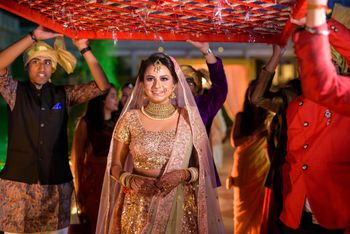 Bridal entry idea in pastel lehenga