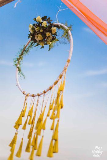 Photo of Hanging floral pinwheel decor