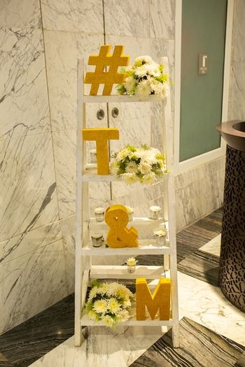 Wooden ladder decor with hashtag
