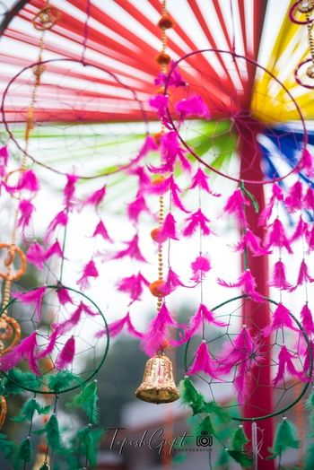 Dreamcatcher decor with feathers for mehendi