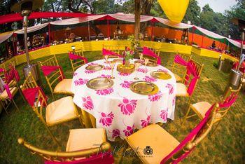Mehendi decor with floral print table linen