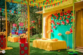 A bright and colorful decor for haldi function