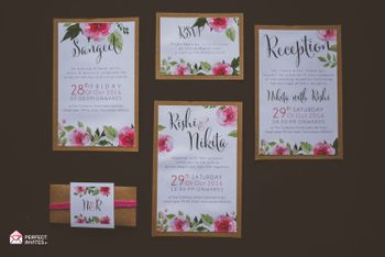Photo of Modern Floral Wedding Card with RSVP